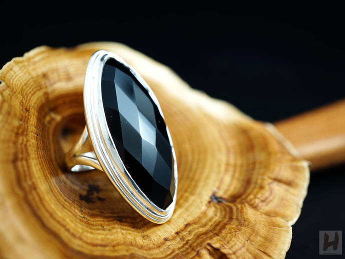 Large Black Onyx Sterling Silver ring Marquise faceted cut size 8  Unique