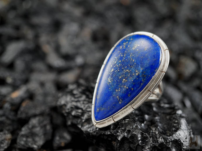 Lapis Lazuli Sterling silver large ring Natural Blue Drop shaped December