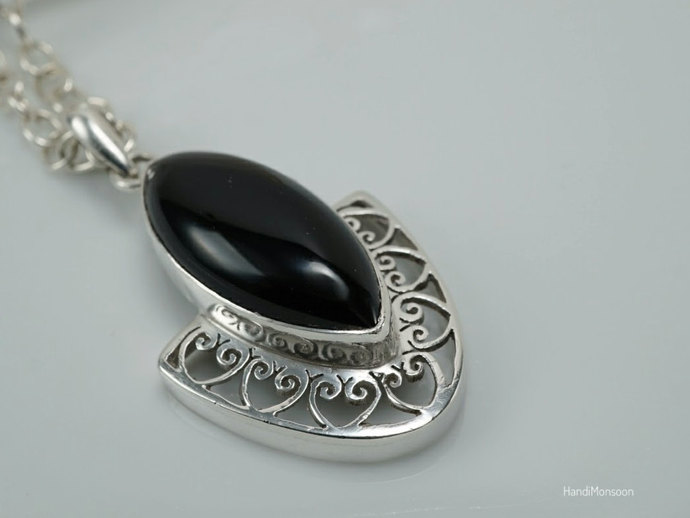 Black Onyx Sterling silver filigree pendant necklace, marquise gemstone jewelry