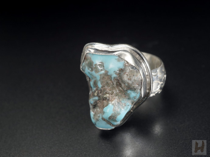 Natural American Blue Turquoise Sterling silver ring Raw Stone Jewelry December