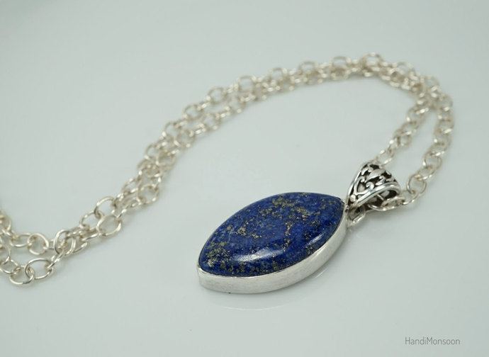 Natural blue Lapis Lazuli Sterling silver pendant necklace filigree bail