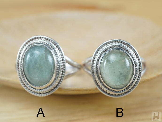 Minimal Blue-Green Aquamarine Sterling silver ring Oval Cabochon natural stone