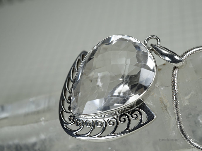 Clear quartz crystal rock sterling silver by handimonsoon on zibbet clear quartz crystal rock sterling silver pendant necklace heart faceted cut aloadofball Choice Image
