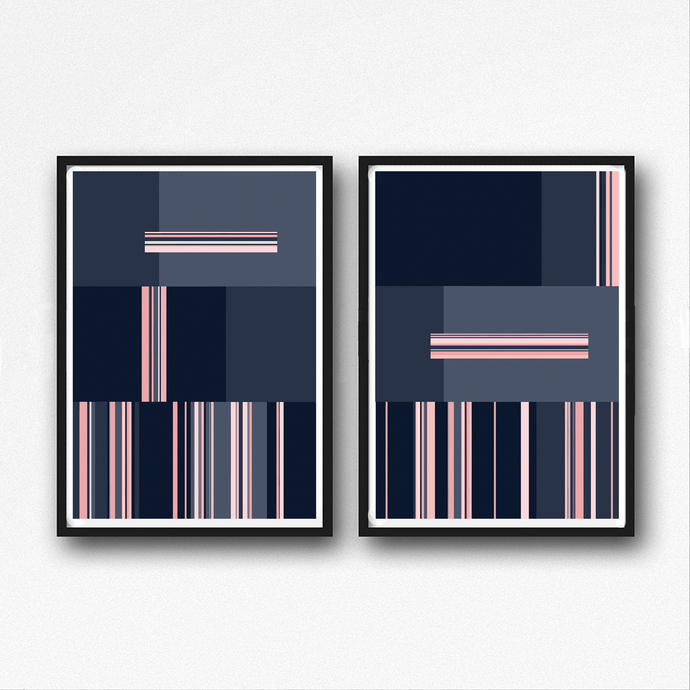 Set of 2 Prints, Abstract Art , Printable Abstract Art, blue and Pink, instant