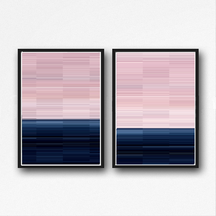 contemporary art, geometric abstract, digital image, lines art,blue and pink ,