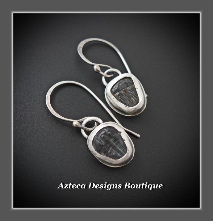 Trilobite Fossil Rustic Hand Fabricated Argentium (93.5) Silver Earrings