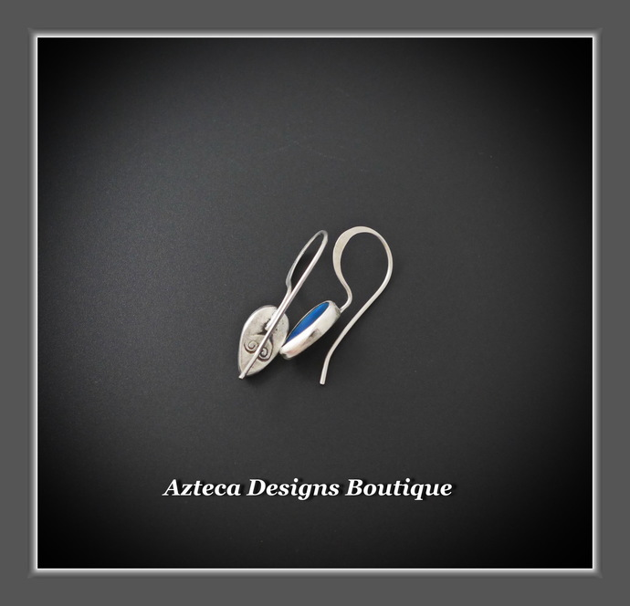 Australian Opal Doublet Hand Fabricated Argentium (93.5) Silver Drop Earrings