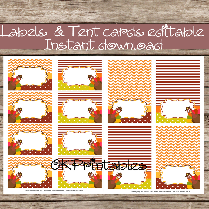 ThanksGiving food tent cards - Printable ThanksGiving Party -Buffet card- Place