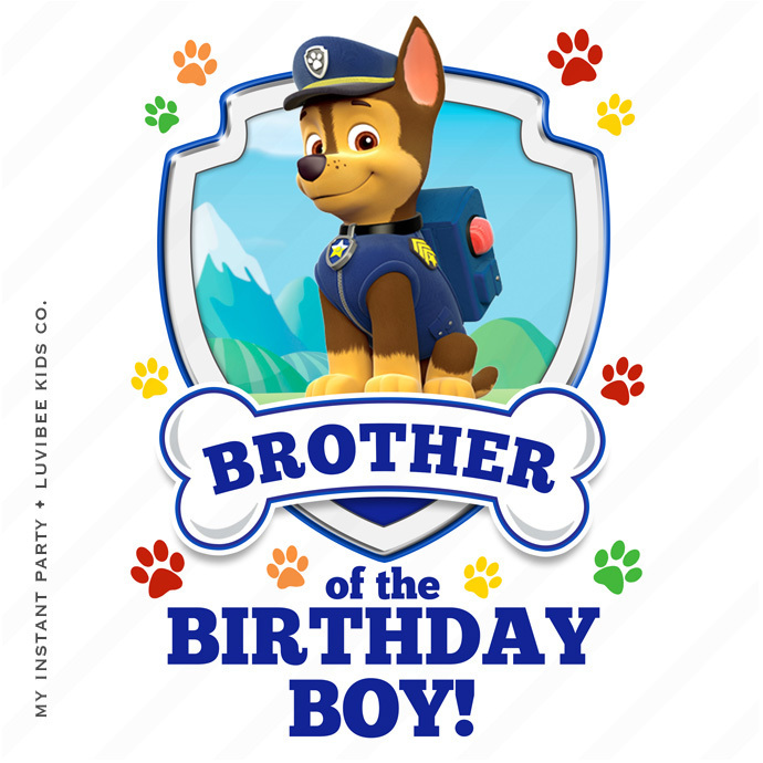 Chase | Paw Patrol Brother of the Birthday Boy Design | Instant Download