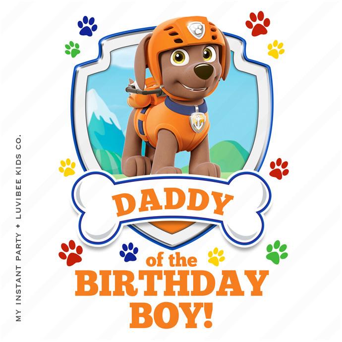 Zuma | Paw Patrol Daddy of the Birthday Boy Design | Instant Download
