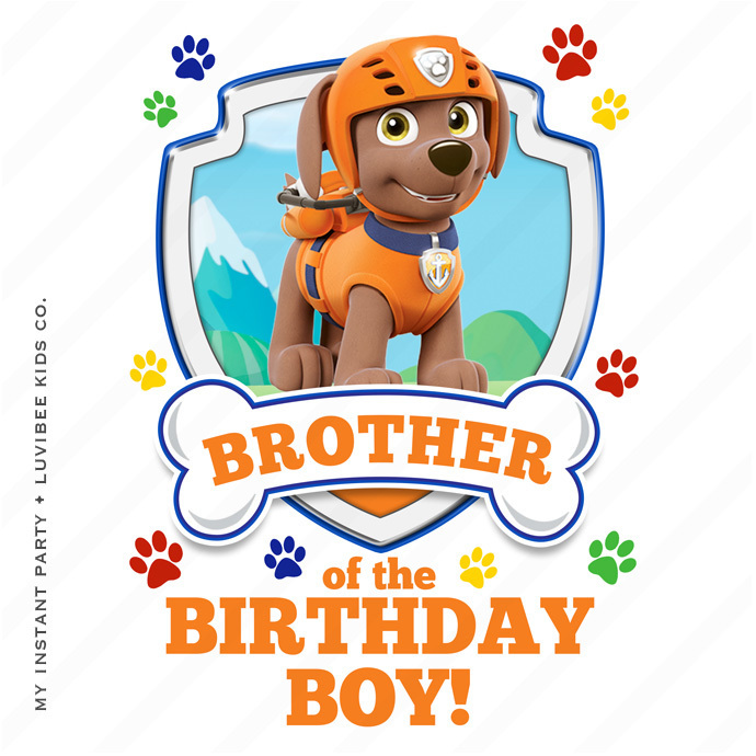 Zuma | Paw Patrol Brother of the Birthday Boy Design | Instant Download
