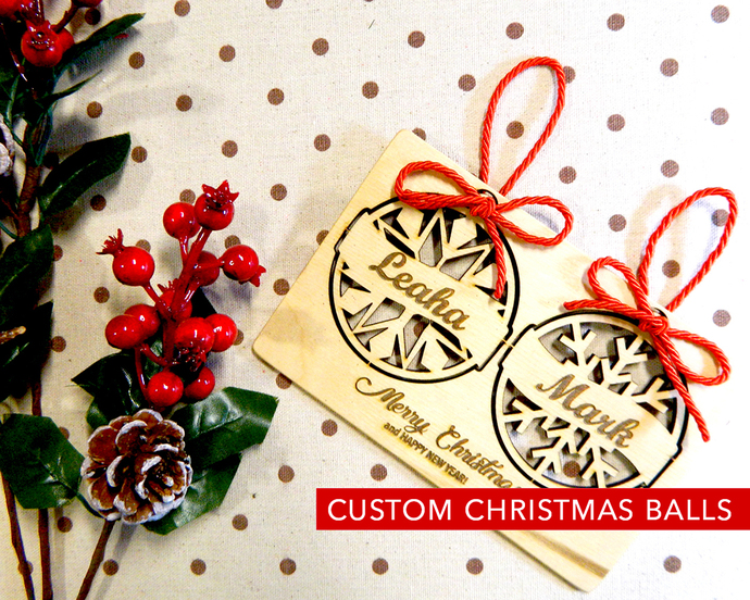 Christmas Together, Wood Christmas Balls Ornament Personalized, Christmas Tree