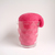 Strawie, a glass of shaggy strawberry juice. anthropomorphic soft sculpture