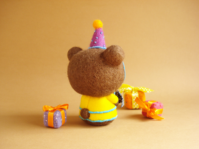 Louie, the Birthday Bear. One of a kind Art Bear.