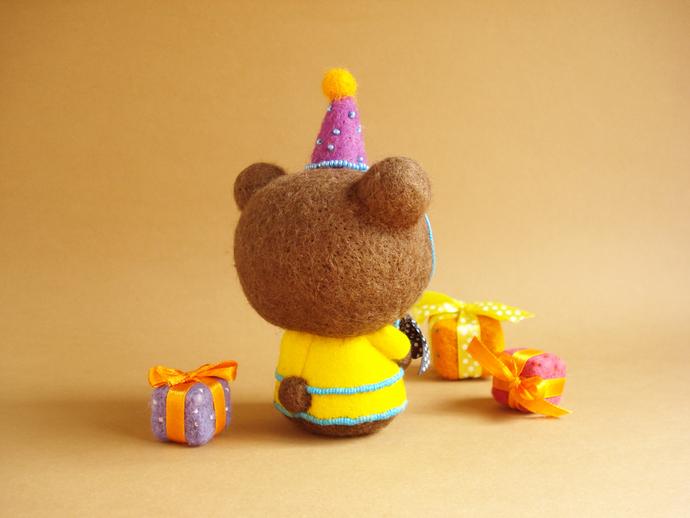 Louie, the Birthday Bear. One of a kind Art Bear.