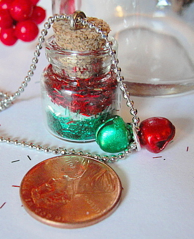 Mini Bottle FAIRY DUST Necklace--CHRISTMAS Red and Green Sparkles--Holiday