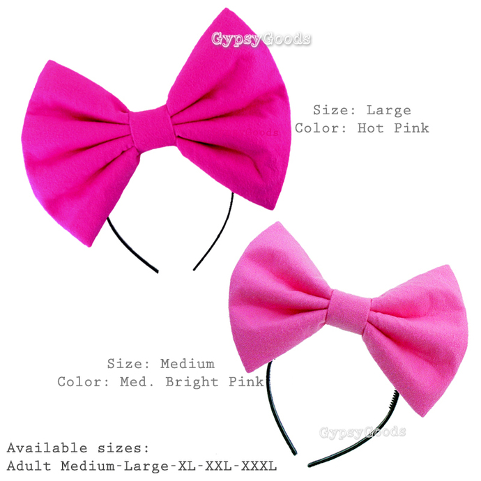 MEDIUM Flannel Hair Bow Adult M-Bow in Red, Black, White, Pink, Blue or Purple