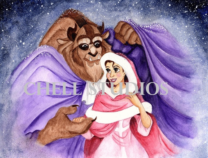 BEAUTY AND THE BEAST WATERCOLOR ORIGINAL