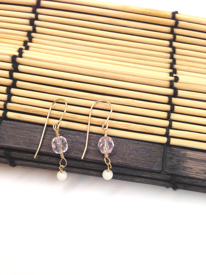 Dainty Wishes | Light Pink and White Bamboo Coral Earrings | Gold Filled