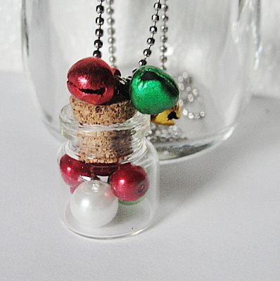 Mini Glass BOTTLE Necklace....Red White Green Balls With Red Gold n Green