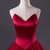 Burgundy tulle strapless sweetheart neckline long evening dress, long tulle prom