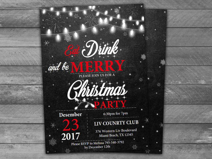 Chalkboard Christmas Party Invitation - Instantly Downloadable and Editable File
