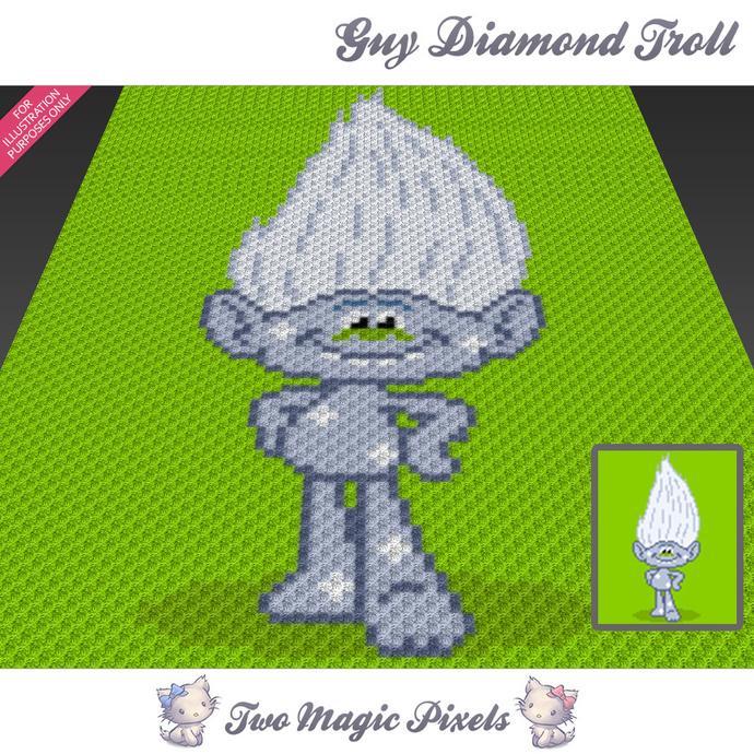 Guy Diamond Troll Crochet Blanket Pattern By TwoMagicPixels On Zibbet Extraordinary Trolls Crochet Pattern