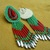 Christmas Rosette Beaded Earrings in Green,Red and Silver