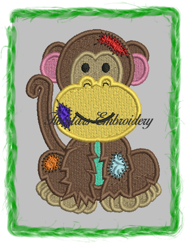Patch monkey in fill stitch and applique. 4x4 in fill 5x7 6x9 in applique.