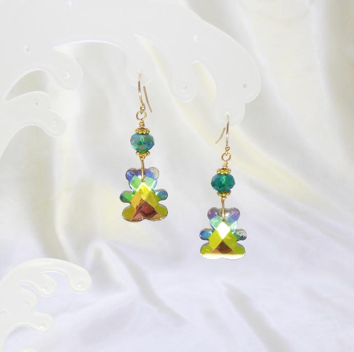 Teddy Bear Earrings in Crystal