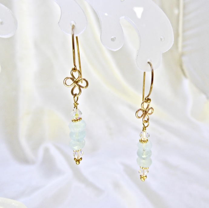 Powder Puff Aqua Gold Filled Earrings