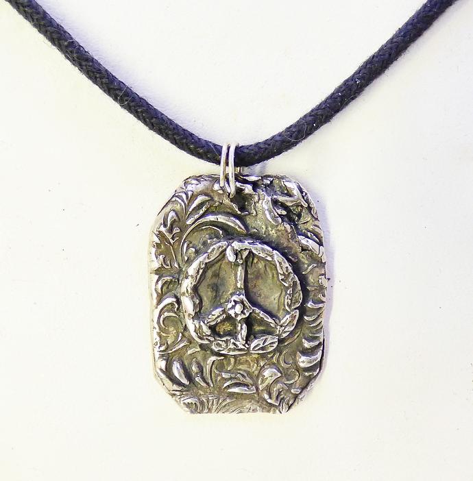 Peace Sign Wreath Pendant in Fine Silver