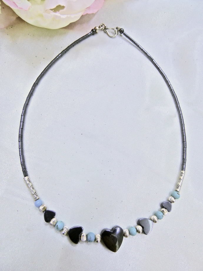 Hematite Heart Sterling Necklace