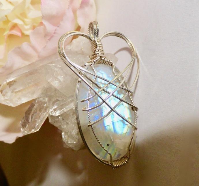 Crowned Rainbow Moonstone Pendant