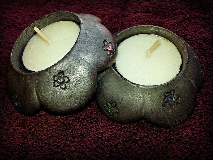 Pewter candle holders, pewter tea lights, pewter figurines, pewter crystals,