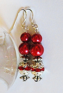 Dress Up Drop Earrings--RhineStone-Glass Pearls--Lead Free Ear Wires-GORGEOUS