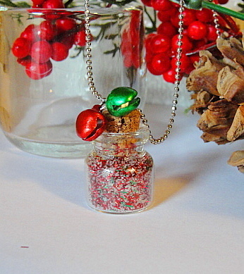 Mini Bottle FAIRY DUST Necklace--Christmas Red White Green Tinsel Sparkles--Cute