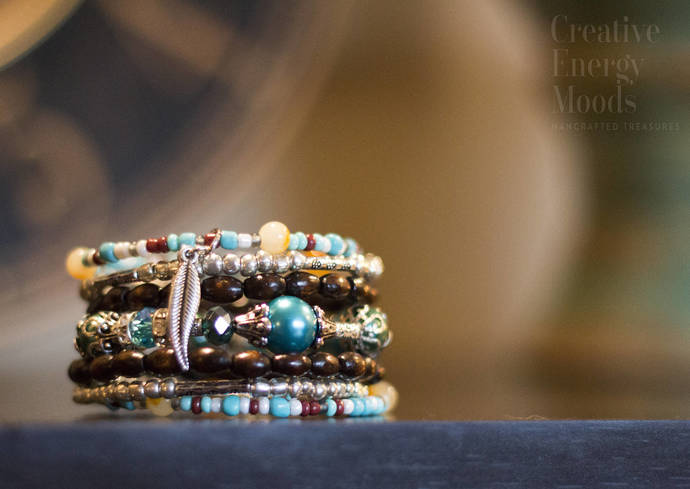 FREE SHIPPING-Unique, rare, beaded, wire wrap bracelet. Classy,elegant, gypsy,