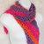 Shawlette, crocheted in Hot Salsa Stripes cozy acrylic yarn