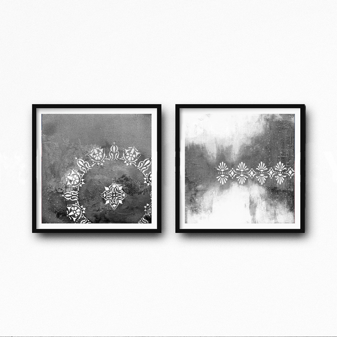 Set of 2 prints downloadable gray black white vintage ornament painting