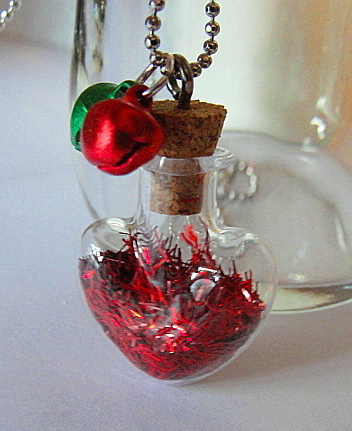 MINI BOTTLE Glass Necklace--PIXIE TINSEL--Heart Shaped--Christmas RED--Mini