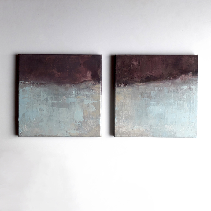Set of 2, minimalism abstract, contemporary art, landscape abstract, diptych