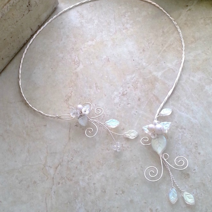 White Aurora Frost Elven Torc Necklace ~ Winter Wedding Jewelry