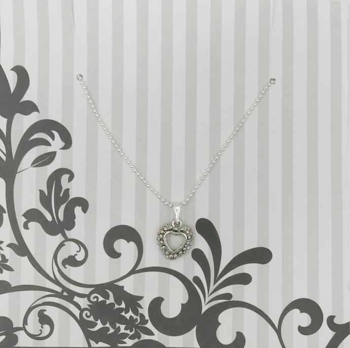 Captured Heart Charm Necklace | Sterling Silver | Ball Chain