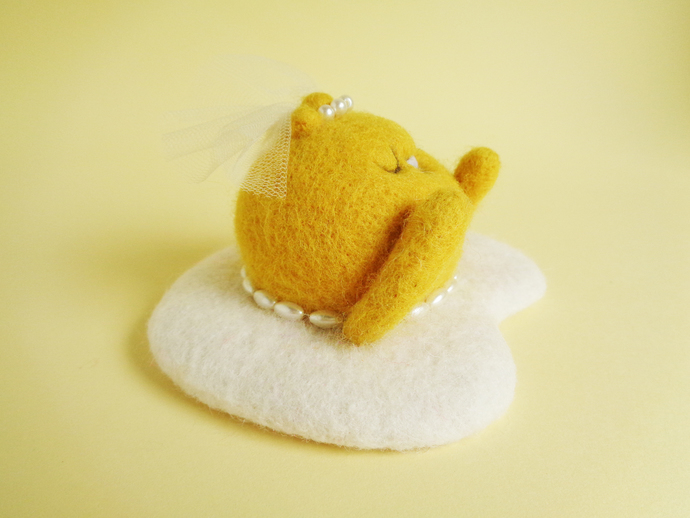 Youki, the bride fried egg, cute bride soft plush, needle felted collectible Art