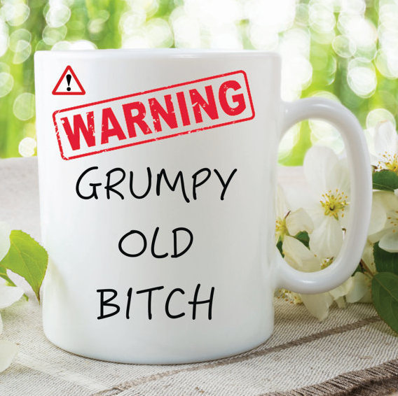 Novelty Mug Warning Grumpy Old Bitch Present Gift Funny Cup For Friend