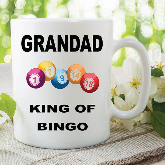 Bingo Mug Grandad Mug King Of Bingo Gift For Grandad Birthday Novelty Mug Cup