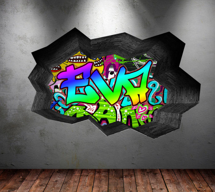 Personalized Name Full Color Graffiti Wall Decals Cracked 3d Wall Sticker  Mural