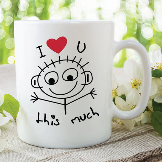 Printed Ceramic Mug I Love You This Much Mug Gift For Girlfriend Boyfriend