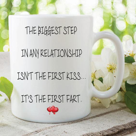 Fart Mug First Fart Funny Mug Novelty Gifts Girlfriend Valentines Joke Mugs